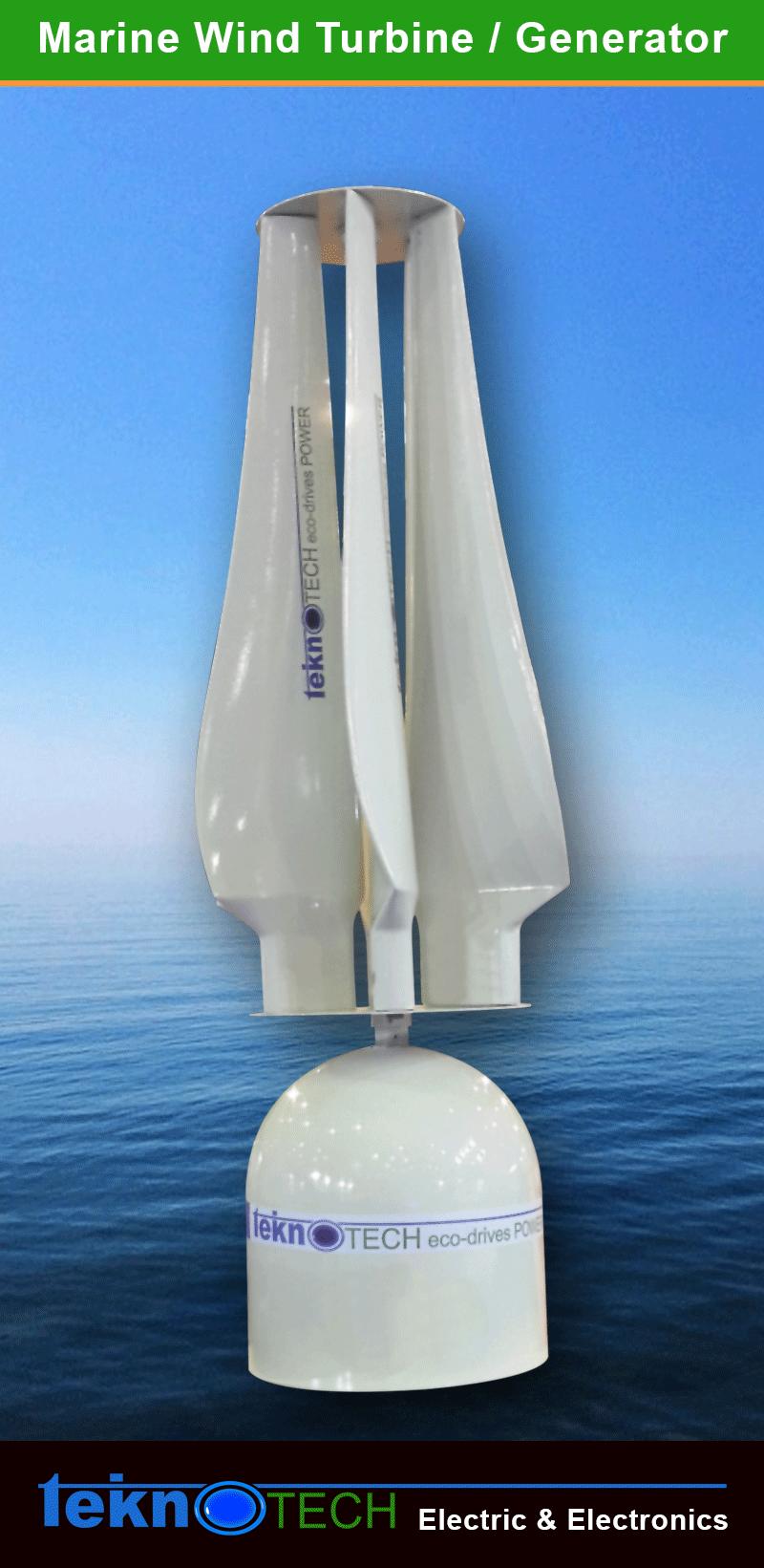 Elektrikli tekne, teknotech marin teknolojileri, tekne rüzgar türbini, dikey rüzgar türbini